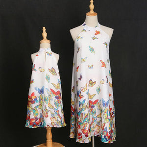 Mom Girl Butterfly Prints Halter Matching Dress
