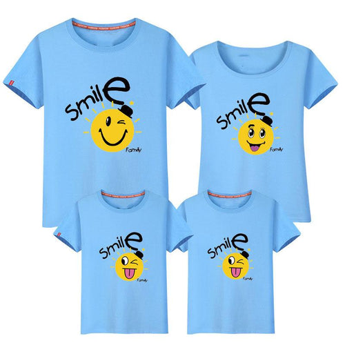 Cartoon Smile Face Letters Pattern Family T-Shirt