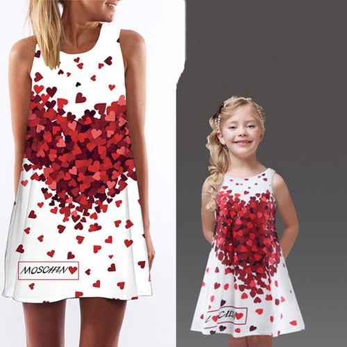 Mom Girl Loving Heart Midi Dress