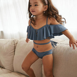 Mom Girl Solid Color Ruffle Trim Matching Swimsuit