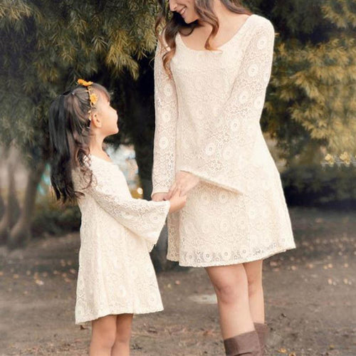 Mom Girl Lace Trumpet Sleeve Dress