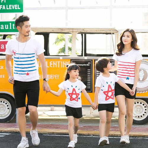 Stripes Star Pattern Round Neck Family T-Shirt