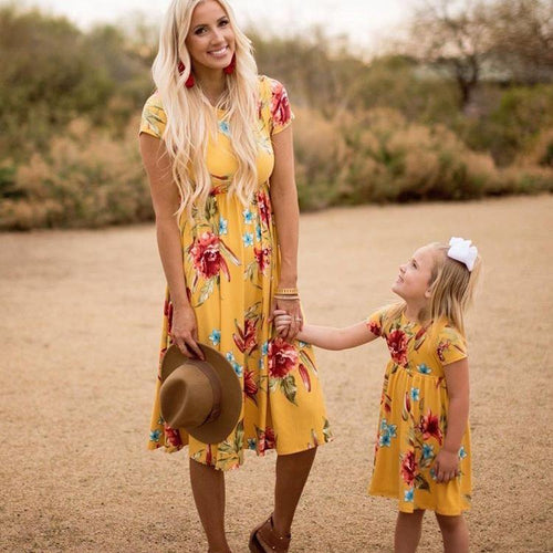 Mom Girl Botanical Prints Matching Dress