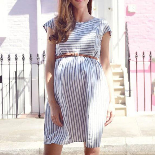Maternity Stripes Short Dress With Belt