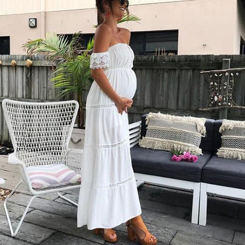 Maternity Hollow Out Lace Off Shoulder Dress