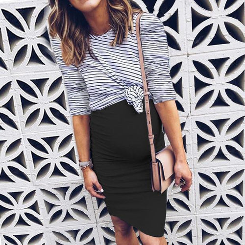 Maternity Stripes Color Block 3/4 Sleeve Casual Dress
