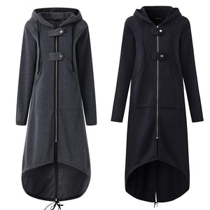 Fleece Hooded Jacket Zipper Long Trench Outwear