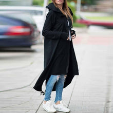 Load image into Gallery viewer, Fleece Hooded Jacket Zipper Long Trench Outwear
