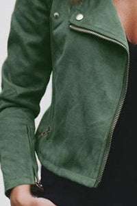 Fold Over Collar  Zipper  Plain Jackets