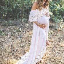 Load image into Gallery viewer, Maternity Solid White Lace Off Shoulder Dress