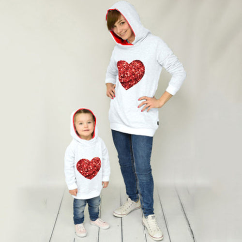 Heart-Shaped Hooded Parent-Child Women Hoodie