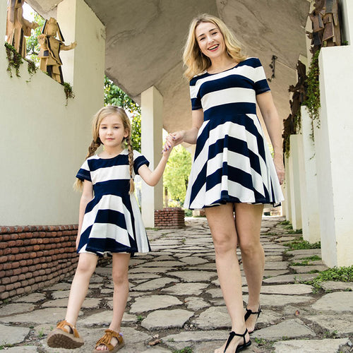 Short Sleeve Striped Parent-Child Dress
