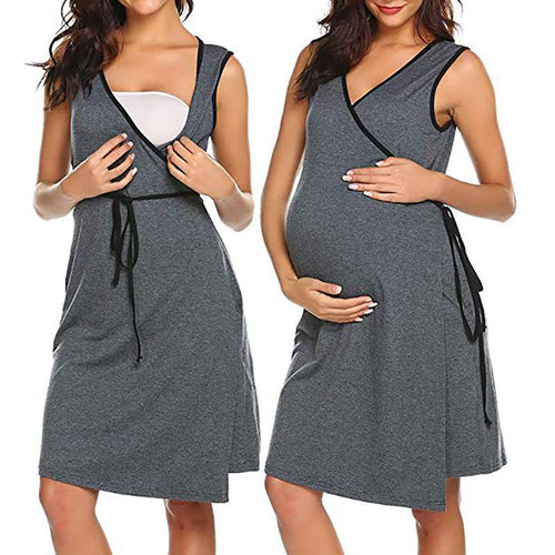 Maternity Color Block V Neck Sleeveless Pajamas Breast-Feeding
