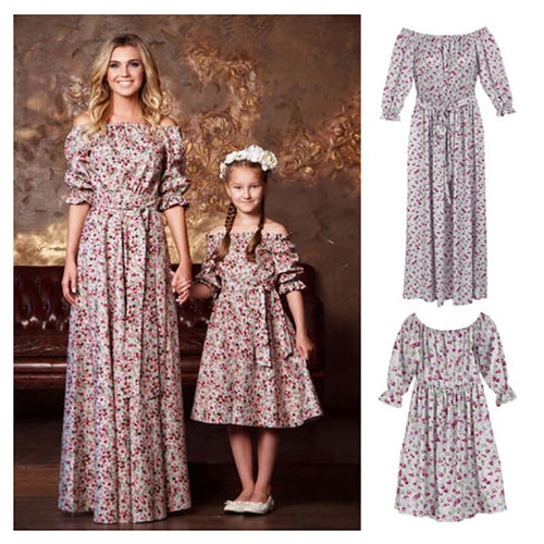 Parent-Child Printed Short-Sleeved Dress