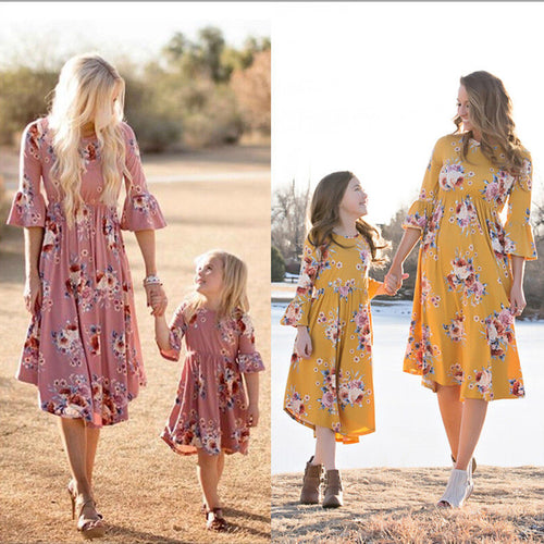 Family Printed Off-The-Shoulder Dress