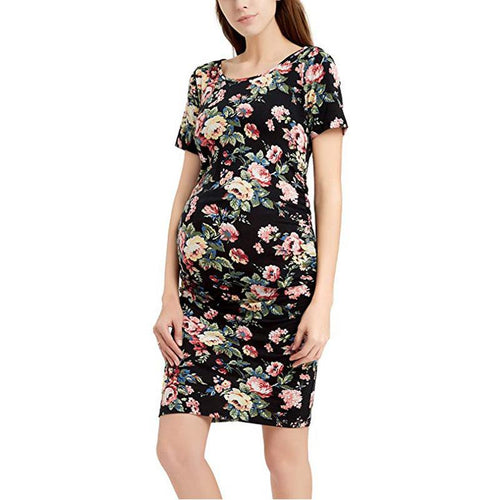 Maternity Floral Print Short Sleeve Dress