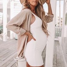 Load image into Gallery viewer, Maternity Casual Sundress Bodycon White Sleeveless