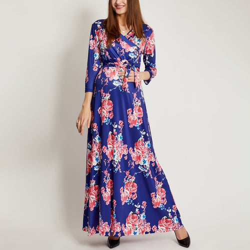 Maternity Floral Print Surplice Wrap Self Tie Maxi Dress