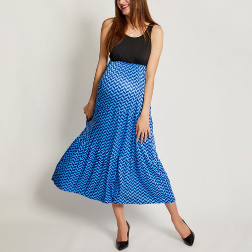 Maternity Wavy Stripes Sleeveless Matching Dress