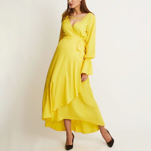 Maternity A Waist V Collar Yellow Irregular Swagger Dress