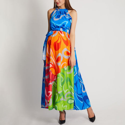 Maternity Halter Neck Floral Print Vacation Maxi Dress
