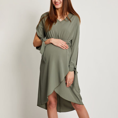 Maternity Long Sleeves V Neck Skater Dress
