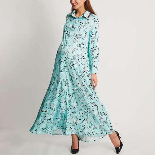 Maternity Floral Print Long Sleeves Maxi Dress