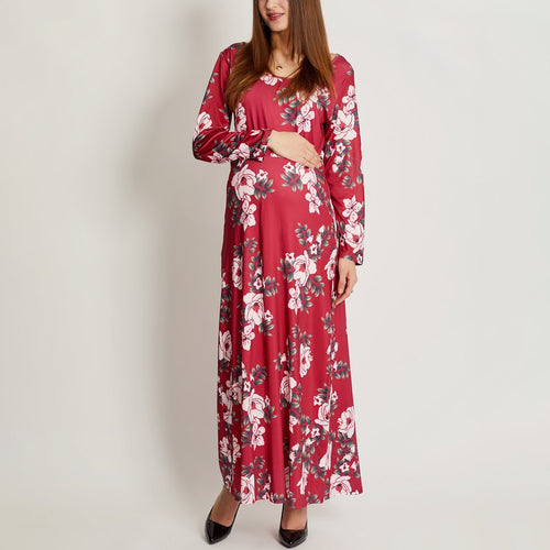 Maternity Flowers Long Sleeve Dress