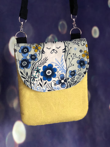 Linen Cat Cross Body Pouch