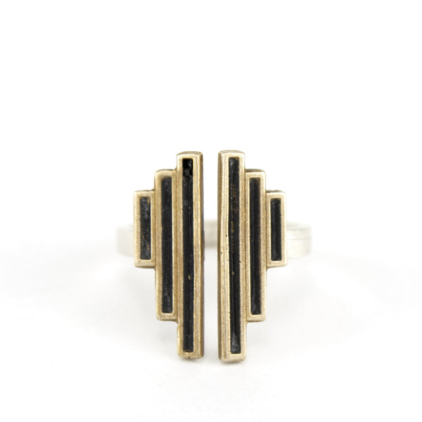 Sterling silver adjustable ring with vertical bars.