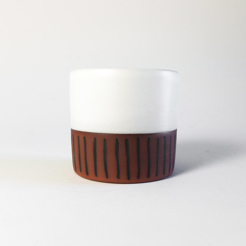 Medium Planter - White with Vertical Black Stripes