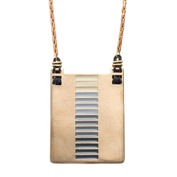 Hand painted chunky bronze geometric necklace.