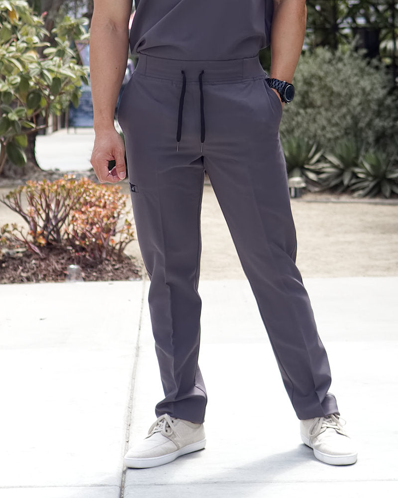 Black Finch Scrubs Rogue pants men's modern fit scrub bottoms in gray with welt cargo pocket.