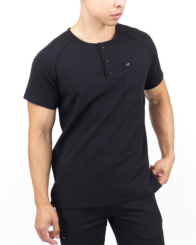 Black Finch Scrubs, Impact top.  Slim fit Henley men's scrub shirt in black, front view.