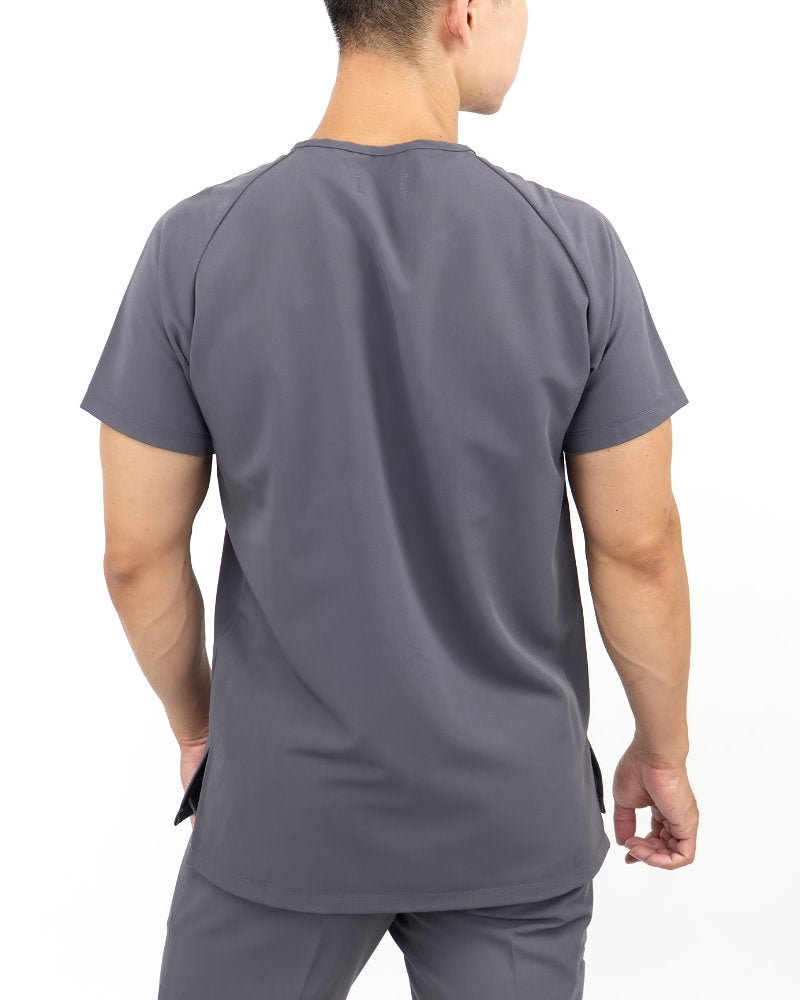 Black Finch Scrubs Impact Top.  Slim fit henley men's scrub top in gray, back view.