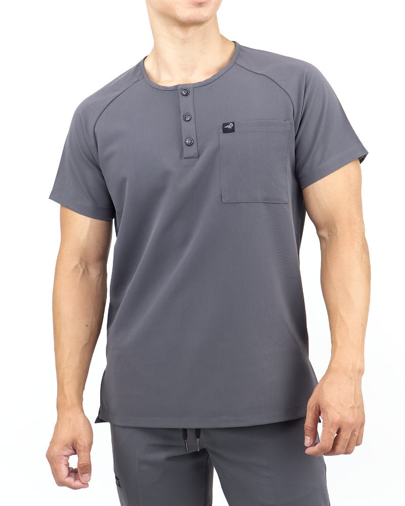 Black Finch Scrubs Impact Top.  Slim fit Henley Men's scrub top in gray, front view.