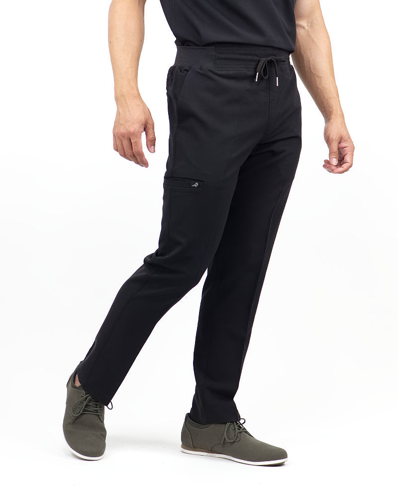 Black Finch Rogue Pants - Slim fit Men's scrub pants in black, front view.