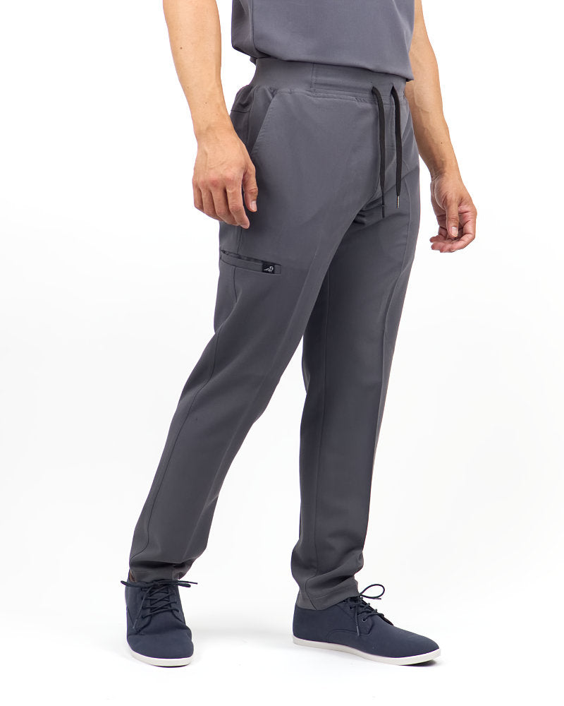 Black Finch Scrubs Rogue Pants - Slim fit Men's scrub pants in gray, front view.