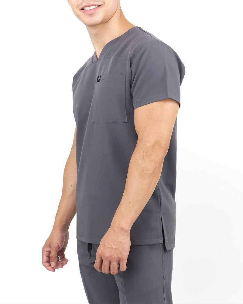 Black Finch Streamline Top.  Slim fit V-neck Men's scrub top in gray, side view.