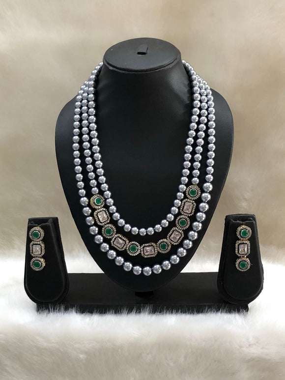 Silver Three Layered Pearl Green White Kundan Necklace Set-FASHION KIDA-Fashion Kida