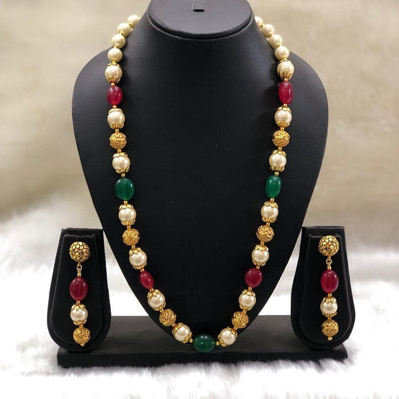 Multicolor Pearl Beaded Necklace Set-FASHION KIDA-Fashion Kida