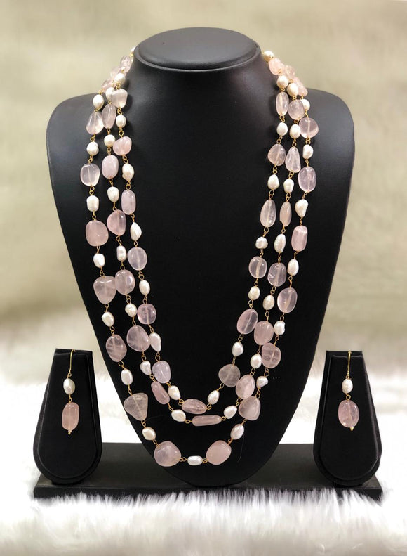 Pink Replinesh Seed Necklace Set