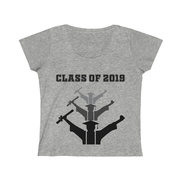Class of 2019 Exhilarated Grads Womens Slim Fit Scoop Neck T-Shirt Gray
