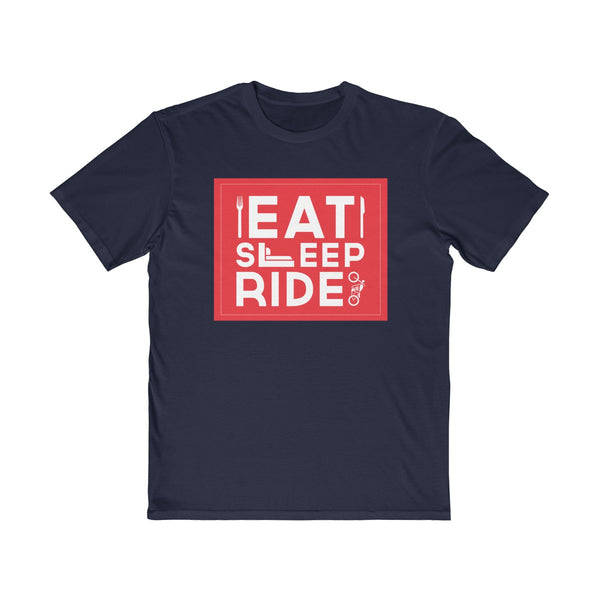 Eat Sleep Ride Mens Semi Slim Fit T-Shirt Navy