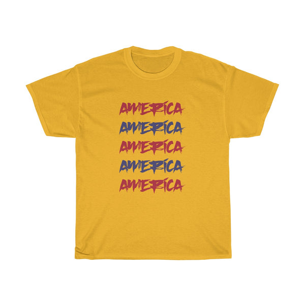 America Red and Blue Unisex Classic Fit T-Shirt (Light) Yellow