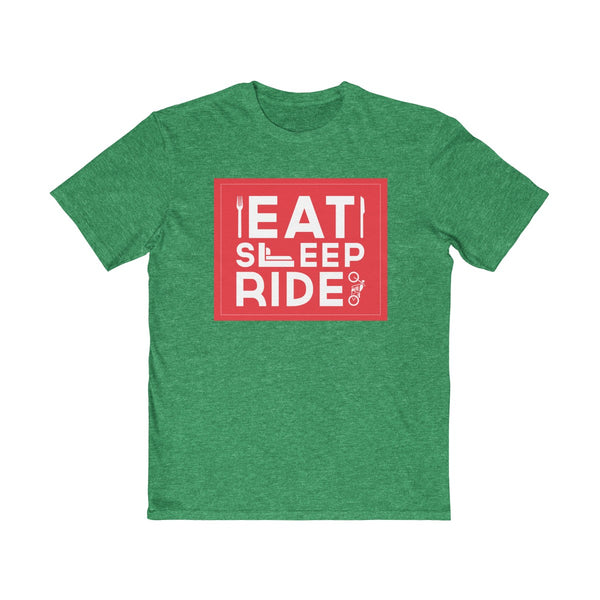 Eat Sleep Ride Mens Semi Slim Fit T-Shirt Green