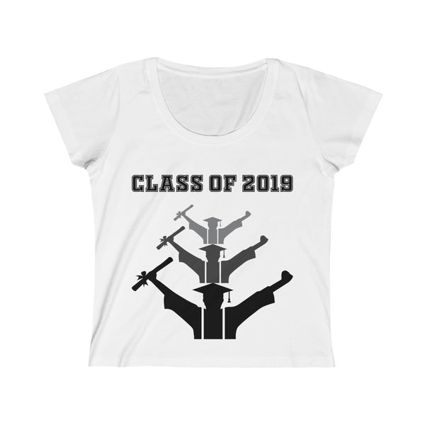 Class of 2019 Exhilarated Grads Womens Slim Fit Scoop Neck T-Shirt White