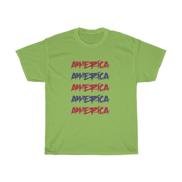 America Red and Blue Unisex Classic Fit T-Shirt (Light) Green