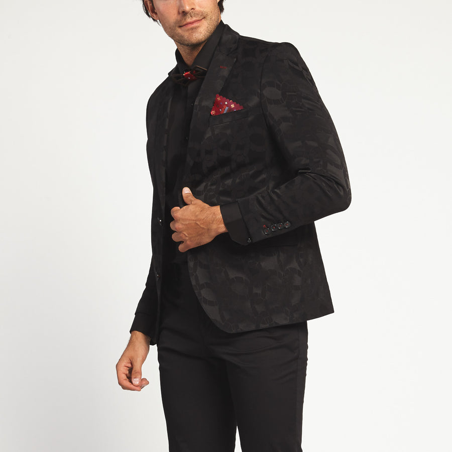BLACK JACQUARD ROPE PRINT TWO BUTTON SUIT JACKET