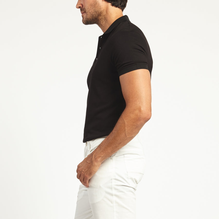 SHORT SLEEVE BLACK KNIT COTTON POLO